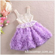 Crochet Lace, Rosette Skirt Summer Dress  Available in Purple, Pink, Red Sizes 2-7y  $19 + Postage (Starts at $5.95 for QLD, $7.85 for the rest of Australia)