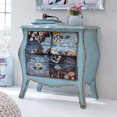 distressed painted blue flowery commode