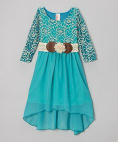 Another great find on #zulily! Teal & White Lace Belted Hi-Low Dress - Girls #zulilyfinds