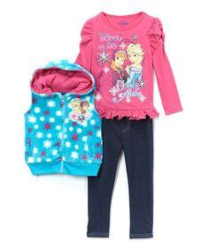 Look what I found on #zulily! Blue & Pink Frozen Vest Set - Toddler & Girls by Frozen #zulilyfinds