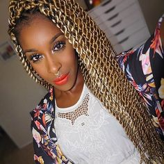 Light Brown & Blonde Kinky Twists Style