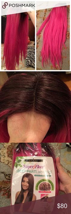 Pink Lace Front Wig Gorgeous lace front wig! Used once for Halloween. Hot pink with purple roots. Hair is layered and length is very long, about 28 inches. Heat resistant. I've already cut the lace but still in great condition! Accessories Hair Accessories