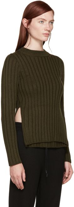 MM6 Maison Margiela: Green Ribbed Cut-Out Sweater