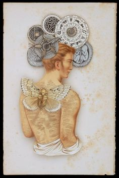 "Surrealistic mixed media paper collage from artist Hope Kroll. ""Silent Partner"".100 year old German print paper. «"
