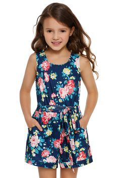 Wholesale Girls Rompers, Cheap Blue Floral Romper for Little Girls Online Kids Outfits Girls, Kids Girls, Little Girls, Girl Outfits, Fall Makeup Looks, Girl Online, Julia, Girls Rompers, Neck Pattern