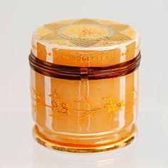 Antique Victorian Enamelled Opaline Luster Art Glass Hinged Lid Trinket Box Jar | eBay