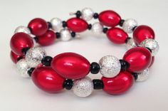 Red Silver and Black Custom Coil Bracelet by PeacocksandLeopards, $16.00