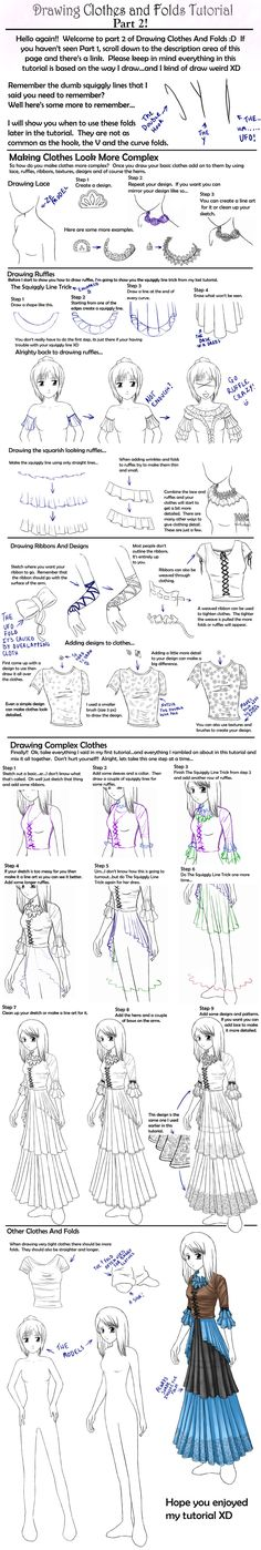 How to draw Clothes tutorial,Manga clothes, Anime Clothes, how to draw fabric, drawing folds, kawaii, girl, Japanese, anime, manga tut  Fabric, folds, Japanese fashion