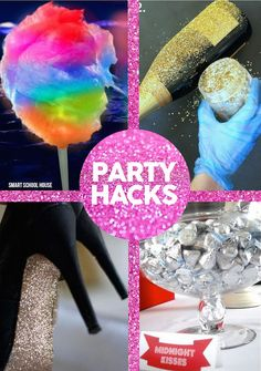New Years Eve Party Hacks- These New Year& Eve Party Hacks are actually fantastic all year long. You can use them for birthday parties, weddings, and so much more. Party Hacks, Party Ideas, Diy Party, Elmo Party, Mickey Party, Candy Party, Dinosaur Party, Holiday Parties, Holiday Fun