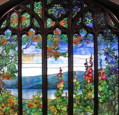 Louis Comfort Tiffany. Window with Hudson River Landscapes from Rochroane, U.S. Corona, New York, 1905.