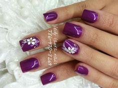 Purple Nail Art, Purple Nail Designs, Gel Nail Designs, Flower Nail Designs, Cute Acrylic Nails, Cute Nails, Pretty Nails, Opi Gel Nails, Red Nails