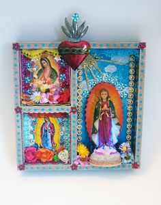 CUSTOM ORDER for SARAH Our Lady of Guadalupe - The Virgin Mary shrine or altar piece