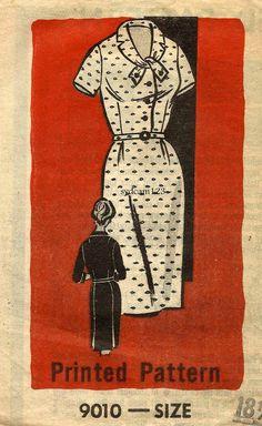 Vintage anni 1950 cravatta collare Shirtwaist vestito sottile