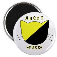"""AnCat PURR"" AnarchoCapitalism Round Magnet Home Decor $3.99 - buy at http://www.cafepress.com/iamjaxxis.648393244"