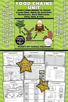 Food Chains Lessons includes lesson plans, hands-on activities and experiments, worksheets, and video links. #vestals21stcenturyclassroom #foodchainsactivities #foodchainsworksheets #foodchainslessons #3rdgradescience