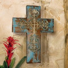 TUSCAN RUSTIC Old World MISSION WALL CROSS ~ Aged Barn Wood & Iron Construction