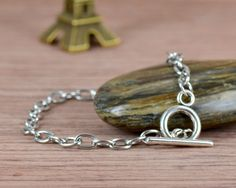 2 Stainless Steel chain bracelet for dangles charms,OT toggle clasp link chain, TS3009. $2.90, via Etsy.