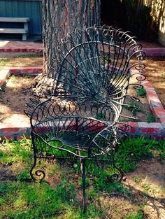 Vintage Wrought Iron Peacock Rocking Chair By Noladrift On