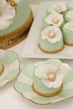 White, Mint & Gold Mini Cakes