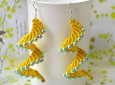 Sensational Spiral Macrame Earrings: Macrame patterns are not just for bracelets; you can also make these fabulous DIY earrings!