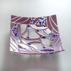 Fused glass bowl LILAC BUSH