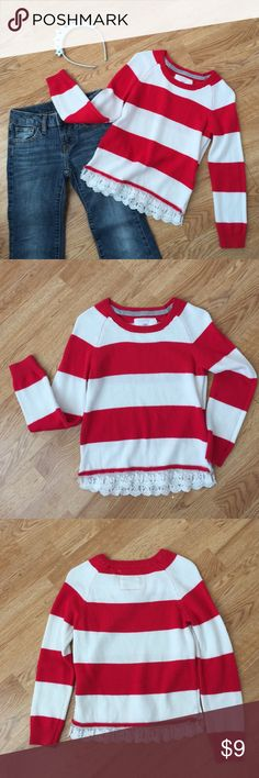 H&M Striped Sweater with Lace Trim Size 4-6 Years Such a great sweater for your little fashionista. The lace trim adds such a sweet girlish touch to this red and white striped sweater. From H&M and size is 4-6 years old, though I always feel this size generally fits 4-5 year olds the best. Jeans and headband not included. Bundle with this some other favorites to save! H&M Shirts & Tops Sweaters