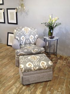Vintage La-Z-Boy Chair w Ottoman Reupholstered in Ikat and Coordinating Fabric on Etsy, $975.00