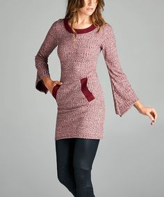 Look what I found on #zulily! Wine Suede-Accent Bell-Sleeve Tunic Sweater #zulilyfinds