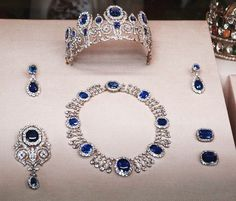 """thestandrewknot:""""Empress Joséphine's Sapphire and Diamond Parure, sold by Hortense de Beauharnais, Queen of Holland, to King Louis Philippe of the French in Royal Crown Jewels, Royal Jewelry, Sea Glass Jewelry, Jewelry Sets, Diamond Jewelry, Fine Jewelry, Diamond Necklaces, Antique Jewelry, Vintage Jewelry"""