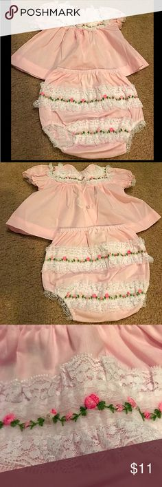 Vintage Alexis set Size Newborn Vintage Alexis Set Size Newborn. Precious light pink vintage dress with white lace/pink floral detail around collar and buttons going up the back. Matching bloomers with two lines of white lace/pink floral detail. So precious!! Includes Dress and matching bloomers!! Matching Sets