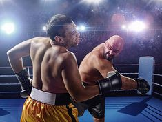 Boxing: Extremely powerful punch 스톡 사진