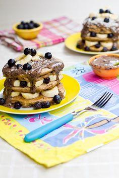 blueberry vanilla pancakes with blueberry glaze.