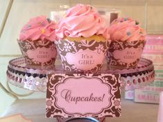 It's A Girl Pink & Brown Floral Cupcake Wrappers & Place Cards. by Bella Cupcake Couture