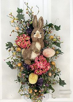 Easter Bunny Teardrop Decoration Easter Wreath With Eggs and Spring Flowers French Country Wall Decor, Country Decor, Archway Decor, Silk Flower Arrangements, Floral Wall Art, Baskets On Wall, Easter Wreaths, Flower Wall, Spring Flowers