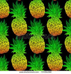 #Seamless #pattern with colorful #pineapples on a black #background. #Vector #swatch, print for fabric or gift wrap
