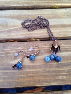 Blue Sodalite and Red Copper  Jewelry Set, Sodalite Necklace, Sodalite Earrings with Copper Accents. by lyrisgems on Etsy