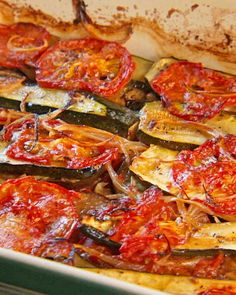 Char-Baked Tomato, Zucchini and Eggplant. I've made this and it's delicious!!! You don't have to wait for Thanksgiving.