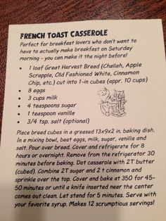 Best French Toast Casserole recipe! use challah!
