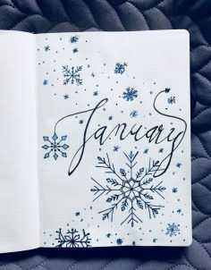 Bullet Journal - January Page This is my first ever bullet journal, so it's not perfect - but let me know what you guys think! Bullet Journal - January Page This is my first ever bullet journal, so it's not perfect - but let me know what you guys think! Bullet Journal Inspo, January Bullet Journal, Bullet Journal Cover Page, Bullet Journal Writing, Bullet Journal Spread, Bullet Journal Layout, Bullet Journal Ideas Pages, Journal Covers, Journal Pages