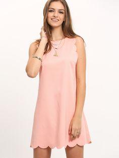 ¡Cómpralo ya!. Scallop Trim Sleeveless Shift Dress. Pink Casual Polyester Round Neck Sleeveless Shift Short Plain Fabric has no stretch Summer Tank Dresses. , vestidoinformal, casual, informales, informal, day, kleidcasual, vestidoinformal, robeinformelle, vestitoinformale, día. Vestido informal  de mujer color rosa de SheIn.