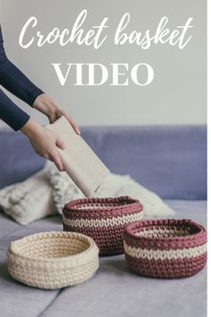 How to Crochet a basket VIDEO tutorial. DIY project. Easy and fast.