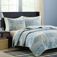 Update your guest room or master suite with this stylish quilt set, featuring an ogee pattern in blue.Product: 1 Quilt and 2 stan...