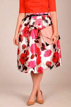 floral+midi+skirt+pink+red