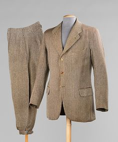 "Sporting Suit 1925 The Metropolitan Museum of Art ""This finely tailored English suit features pant legs with a rubber lining; such rain-proofing indicates the suit was worn for outdoor activity. By..."