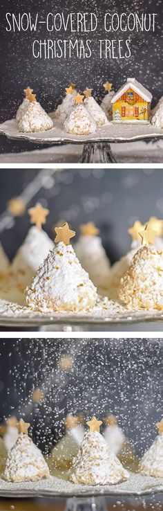 Want to be a star at your next cookie exchange or Christmas party? Here is a very easy recipe to make coconut Christmas tree cookies. For added effect, add a dusting of powdered sugar 'snow', some edible glitter and a gold star.