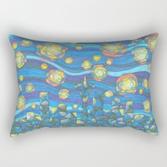 Starry Seattle Skyline Rectangular Pillow Double-Sided Print. Available in Four Sizes.  $27.00