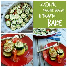 Zucchini, Summer Squash, and Tomato Bake.  A healthy, gluten-free recipe that is much lighter than most squash bakes!  This is an easy side dish for dinner.  Perfect for all that summer produce!