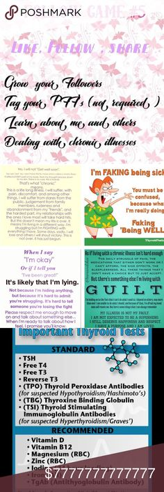 FG#5 I hv Migraines. Doing all I can update 6/25 Let's keep growing together! #5 FG!  Like this listing, follow everyone who's liked this listing including me, share, share, share. Come back often and repeat. Let's help each other grow and support. I've also included personal info about my illness and how I feel. Just to share and educate those who don't understand. Sometimes people don't know why I don't share back all the time or am MIA. This is why. Posh Love to you all!! Let's Keep…