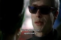 You're the boss, applesauce. Stay Gold, Cinematography, Favorite Quotes, Boss, Mens Sunglasses, Humor, Films, Movies, Celebrities