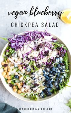 Summer Chickpea Blueberry Salad This vegan chickpea blueberry salad with tahini maple dressing is easy to make with simple ingredients, no cooking required. GF, oil-free, high in protein. Salade Healthy, Healthy Salad Recipes, Whole Food Recipes, Vegetarian Recipes, Cooking Recipes, Vegan Vegetarian, Fast Recipes, Recipes Dinner, Clean Eating